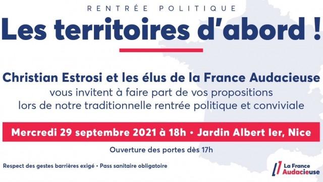 Rentrée politique le 29 septembre prochain à Nice